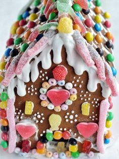 to get your imagination sparking to create a fanciful, simple, no bake, or sem-homemade holiday candy house this Christmas! Gingerbread House Designs, Gingerbread Decorations, Christmas Gingerbread House, Swedish Christmas, Handmade Christmas, Christmas Crafts, Christmas Decorations, Gingerbread Houses, Candy Decorations