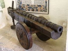 Veuglaire, 15th century. Made in cast iron, 1.15 m long, it fired stone and iron cannonballs at 200 meters range. Photo taken in the Château de Castelnaud, Castelnaud-la-Chapelle, Dordogne, Aquitaine, France.