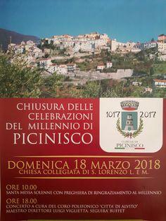 Chiusura Millennio Picinisco 1017-2017 Domenica 18 Marzo 2018...