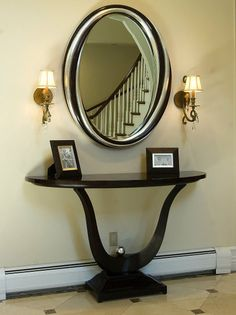 Narrow hallway storage, foyer and entryway table mirror modern . Entryway Mirror, Entryway Decor, Entryway Tables, Table Mirror, Console Table, Wall Tables, Entry Hallway, Transitional Living Rooms, Transitional Decor