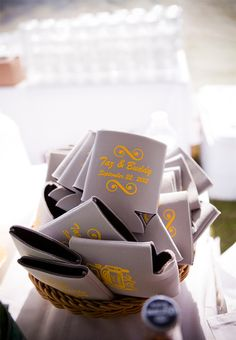 Custom koozies for your wedding guests! A favor they can use for years to come! Genevieve Stewart Photography & Films http://www.outerbanksweddingassoc.org/membersearch/memberpage.html?MID=1888=Photographers=16 #koozies #weddingfavors #obxwedding