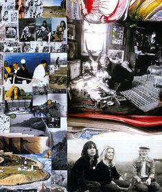 A collage from 30 years in Montauk, NY. Peter Beard working in his studio {for sale as of 2009}, on the lawn at Andy Warhol's with Mick Jagger, Catherine Deneuve and Andy: Peter Beard