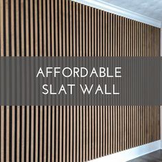 Affordable Slat Wall - Affordable slat wall installed as accent wall in bedroom. Wood Slat Wall, Wood Panel Walls, Wood Slats, Wooden Walls, Wood Accent Walls, Wood Panneling, Diy Wood Wall, Modern Wall Paneling, Plywood Wall Paneling