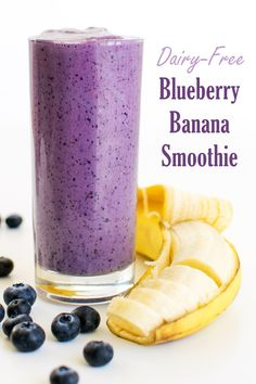 Breakfast Banana Blueberry Smoothie Recipe - dairy-free, plant-based, allergy-friendly, and delicious! A sample from Go Dairy Free The Ultimate Guide and Cookbook Non Dairy Smoothie, Banana Protein Smoothie, Protein Smoothie Recipes, Strawberry Banana Smoothie, Fruit Smoothies, Healthy Smoothies, Breakfast Smoothies, Lactose Free Smoothie Recipes, Blueberry Protein Smoothie Recipe