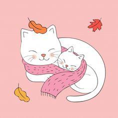 Cartoon cute Autumn mom and baby cat sleeping together vector. Cute Baby Sleeping, Cat Sleeping, Illustration Mignonne, Cute Illustration, Cartoon Cartoon, Baby Cats, Cats And Kittens, Sleeping Drawing, Art Mignon