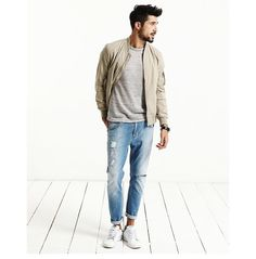 Light tan bomber jacket - Fall staple for sure Mens Fashion Summer Outfits, Mens Fashion Suits, Men's Fashion, Smart Casual Suit, Men Casual, Bomber Jacket Outfit, Poses, School Clothing, Men's Clothing