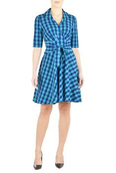 Shawl collar sash waist cotton check dress