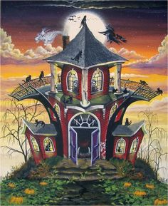Haunted House of Red by Ron Byrum ~ Folk Art Halloween cats flying witch ghosts full moon
