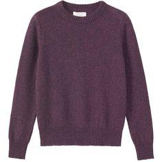 Toast Shetland Slim Sweater (167,900 KRW) ❤ liked on Polyvore featuring tops, sweaters, aubergine, slim fit sweater, collared sweater, purple top, slimming tops and slimming sweaters