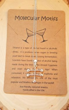 Ethanol Alcohol Molecule Science Chemistry Gift Necklace with Gemstones by MolecularMotifs on Etsy