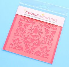 Use the lovely damask cookie stencil to decorate cookies, chocolate covered Oreos, fondant cupcake toppers and more! Stencil on the designs with royal icing, airbrushing or even our edible food paint