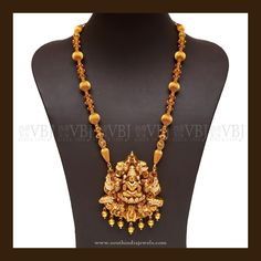 Latest Lakshmi Haram from VBJ ~ South India Jewels Gold Haram Designs, Gold Earrings Designs, Necklace Designs, Gold Temple Jewellery, Gold Jewellery Design, India Jewelry, Small Necklace, Necklaces, Gold Jewelry Simple