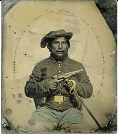 Although there are thousands of tintype images of Confederate and Union soldiers, there are very few images of the many Native Americans who fought on both sides of the Civil War. The identity of this Union soldier is unknown.