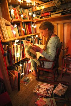 Unschooling. books. night light. alone. imagine.
