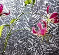 Black Fern Print on Silver Wallpaper design by Annet Van Egmond | BURKE DECOR