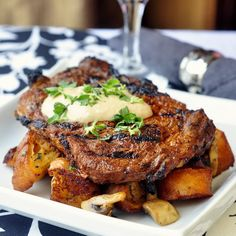 Dry Rubbed Spiced Steak with Smoked Paprika Aioli and Garlic Mushroom Country Croutons - an incredibly indulgent steak dinner using our Smokin' Summer Spice Dry Rub. Keep this one in mind for Father's Day!