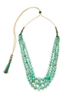 Multi-strand emerald round beaded necklace with adjustable silk chord by MADHURI PARSON for Preorder on Moda Operandi