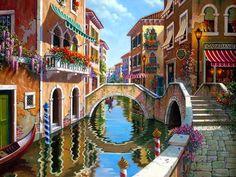 Pintura y Fotografía Artística : Cuadros de Paisajes Venecianos Pintados al Óleo