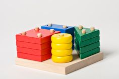 Educational Toy Geometric Blocks, Wooden Stacking Game BIG COLORED, Montessori Wooden Toy