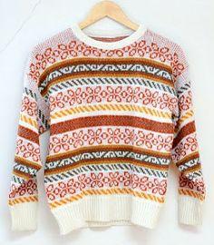 An original 1980s Fair Isle jumper - pullover for men.
