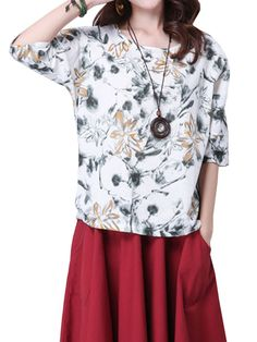 Sale 26% (18.69$) - Folk Style Women Half Sleeve Flower Printing Cotton Linen T-shirt