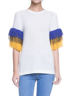 Knit Top with Fringe Sleeve