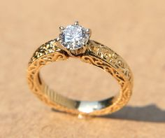 LA FLEUR - Engraved - Floral leaf Yellow gold Round Diamond Engagement ring - 14K - Bp031 on Etsy, $3,000.00