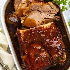 A Slow Cooker Pork Loin roast that's cooked in an amazing Honey Butter Garlic Sauce until fork tender yet sliceable! It's a slow cooker pork roast recipe that works fabulously with pork loin, shoulder and scotch fillet, for your slow co. Slow Cooker Pork Roast, Pork Roast Recipes, Slow Cooker Pork Shoulder, Boneless Pork Loin Recipes, Slow Cooked Pork, Top Pork Loin Roast Recipe, Recipe For Slow Cooker Pork Tenderloin, Pork Loon Recipes, Crockpot Pork Steaks