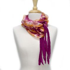 Buy Australian Merino Nuno Artisan scarf in a mix of Raspberry and Orange online. Unique and hand-crafted this beautiful art scarf keeps the cold at bay and add beautiful interest into an outfit. We ship across Australia and throughout the world. Nuno Felt Scarf, Felted Scarf, Silk Art, Handmade Scarves, Lightweight Scarf, Nuno Felting, Silk Thread, Mulberry Silk, Silk Fabric
