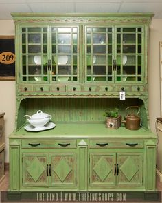 Found at The Find today! Vintage Custom Painted Hutch is in great condition and…
