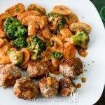 Pilzpfanne mit Brokkoli und Hackbällchen
