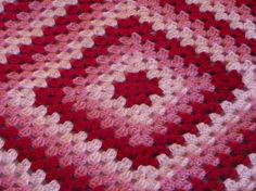 Pink and Red Crochet Granny Square Afghan Strawberry by lulaveggie, $37.50