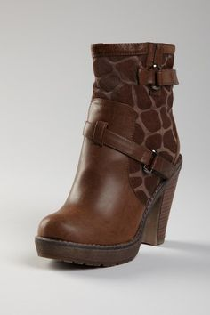 leather giraffe print ankle bootie