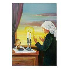 menucha yankelevitch -candle lighting ii   jewish art oil painting gallery