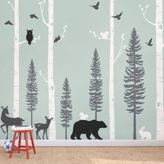 "SimpleShapes Birch Trees with Animals Wall Decal Size: 108"" H x 124"" W, Color: Gray/White/Black"