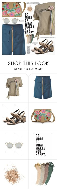 """Asymmetrical Tee"" by katjuncica ❤ liked on Polyvore featuring Native State, Topshop, Gucci, summerstyle, MINISKIRT, graphicprint, khakitee and asymmetrictee"