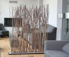 Trimmed limbs make an exhalent room divider Room Deviders, Driftwood Projects, Deco Nature, Branch Decor, Decoration, Living Room Decor, Home Furniture, Home Improvement, Interior Decorating