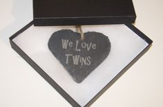 Slate Heart Hanging We Love Twins Love Twins, Our Love, Slate, Mothers, Personalized Gifts, First Love, Unique Gifts, Heart, Chalkboard