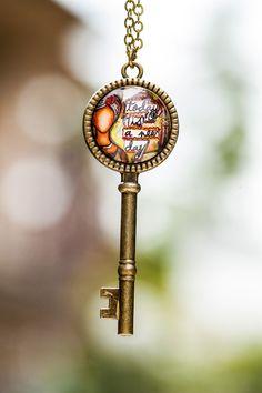 Key Pendant Necklace Mantra Pendant Motivational by LadyArtTalk