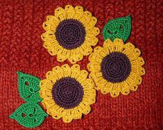 Set of 10 crochet flowers Lavender flowers Dark by ElenaGift
