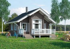 The log cabin Peippi is a popular small cabin with character and a beautiful soul. The cabin is spacious inside . Rest House, House In The Woods, Remodeling Mobile Homes, Home Remodeling, Simple House, Log Homes, Beautiful Homes, Outdoor Structures, House Design