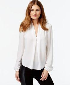 MICHAEL Michael Kors Long-Sleeve Pleated Blouse - Tops - Women - Macy's