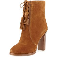 Michael Kors Odile Suede Lace-Up Bootie found on Polyvore featuring polyvore, women's fashion, shoes, boots, ankle booties, bottes, michael kors, luggage, suede ankle boots and michael kors boots