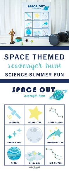 Space Themed Scavenger Hunt Printable Game