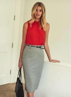 Womens Black And White Prince of Wales Check Pencil Skirt- Black/White