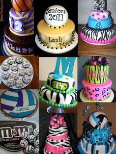Birthday Cake Ideas For Teens|| LOVE the volleyball cakes!!  #volleyball #cakes