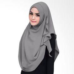 Milyarda Hijab Instant Flowing Jilbab Instant - Grey Embroidery Scarf, Instant Hijab, Hijab Makeup, Hijab Style Tutorial, Simple Hijab, Stylish Hijab, Hijab Fashion Inspiration, Hijabi Girl, Muslim Dress