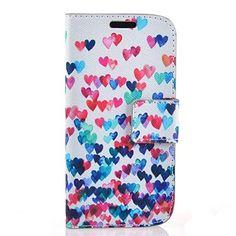 barevné srdce vzor pu leahter celého těla kryt se stojánkem a slotu pro paměťové karty Samsung s4 mini i9190 – EUR € 7.67