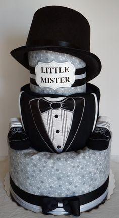 Little Man/Little Mister Tuxedo Diaper Cake www.facebook.com/DiaperCakesbyDiana