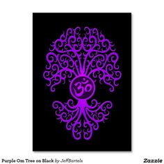 Purple Om Tree on Black Large Business Cards (Pack Of 100)